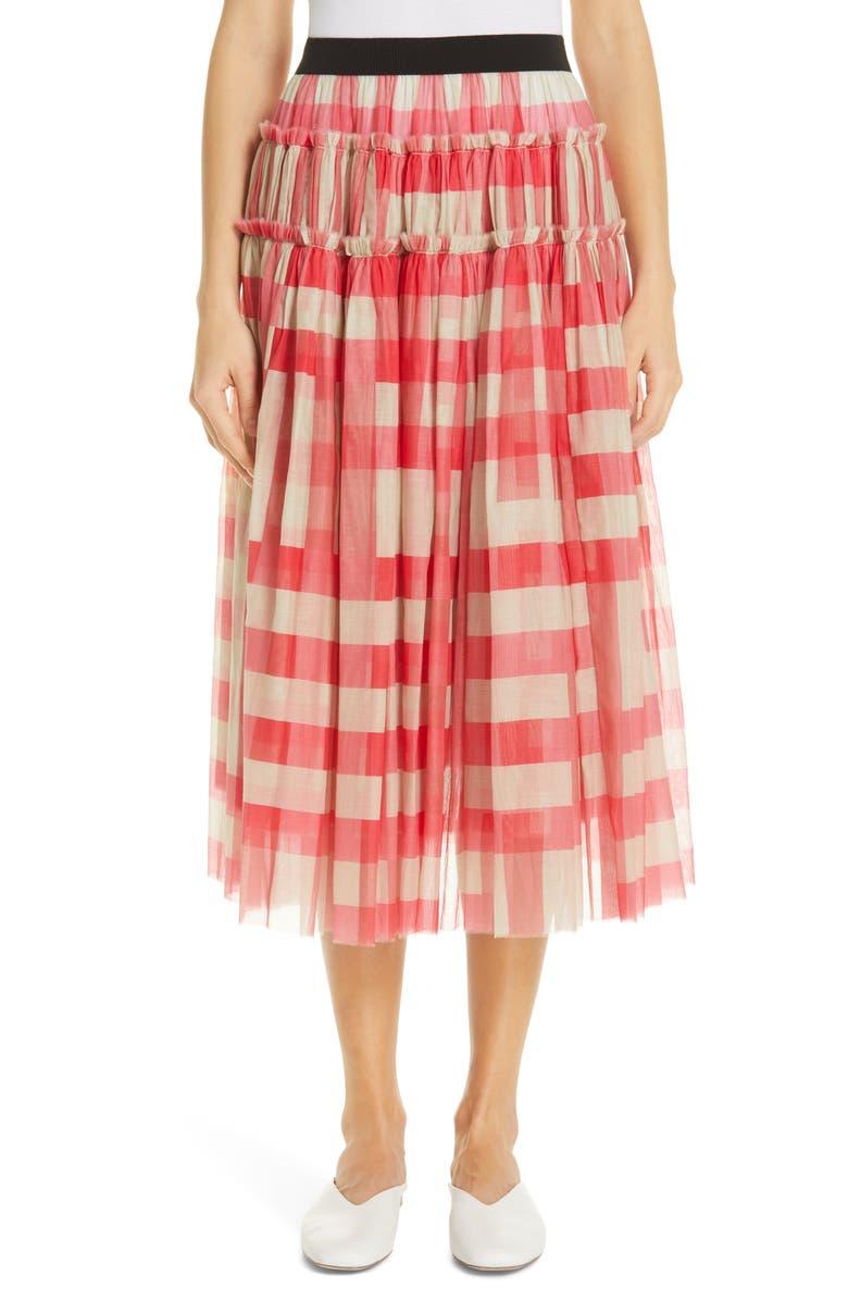 SARA LANZI Gathered Cotton & Silk Midi Skirt, Main, color, 650