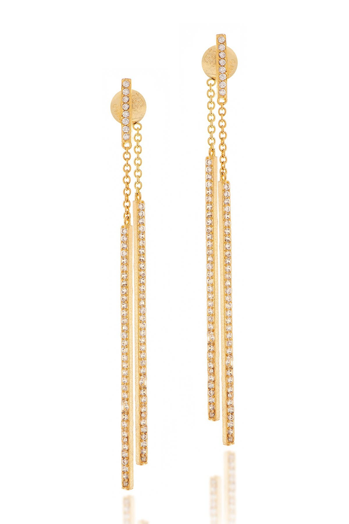 Image of Rivka Friedman Front/Back CZ Elongated Stick Earrings