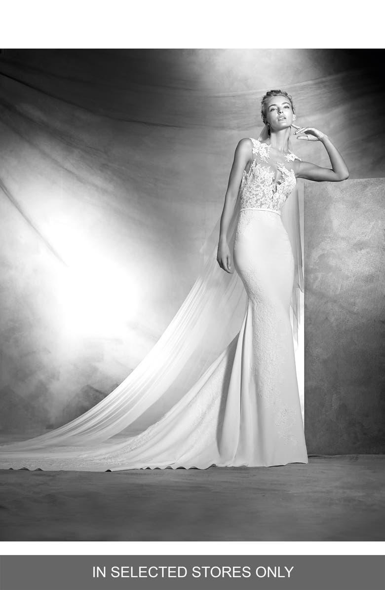 ATELIER PRONOVIAS Vicenta Lace Appliqué Mermaid Gown, Main, color, OFF WHITE/NUDE