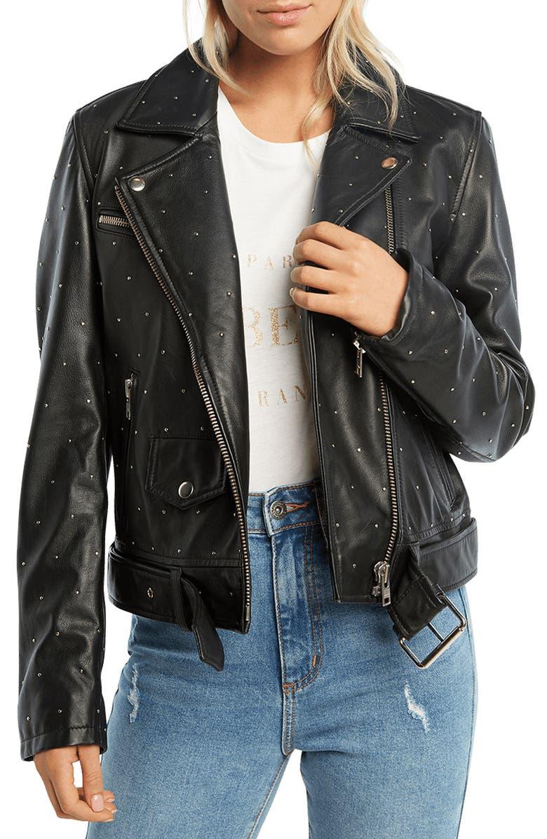 BARDOT Kira Leather Biker Jacket, Main, color, BLACK