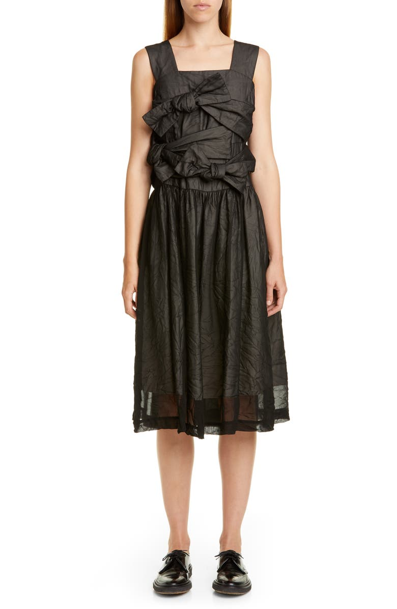 COMME DES GARÇONS Bow Front Midi Dress, Main, color, 001