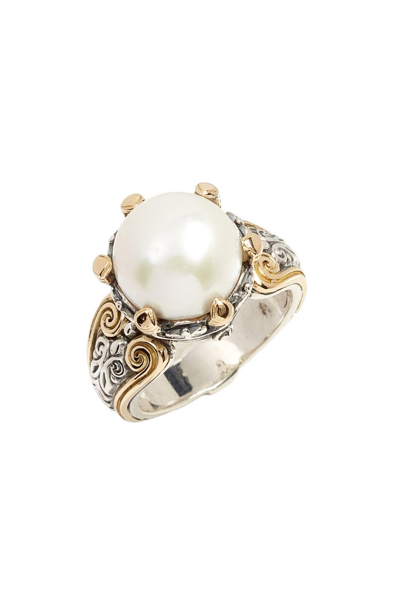 KONSTANTINO Hermione Cultured Pearl Statement Ring, Main, color, SILVER/ PEARL