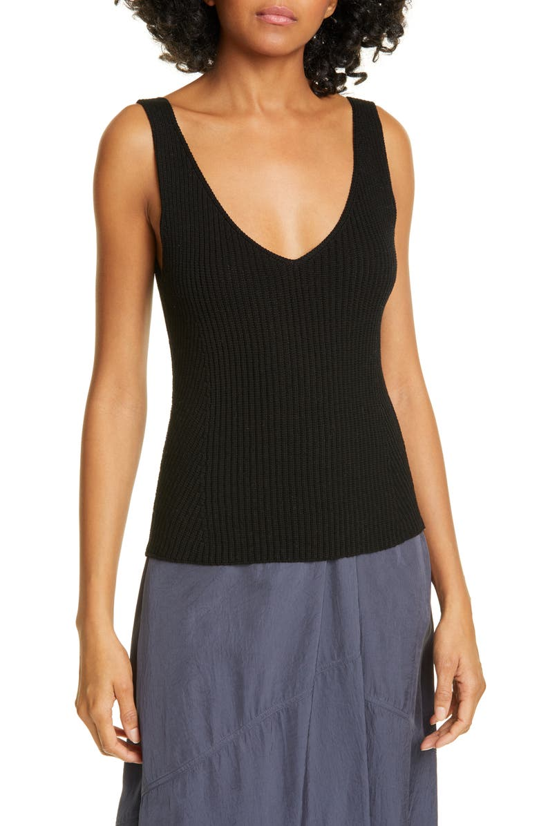 VINCE Directional Rib Cotton Knit Tank Top, Main, color, 001