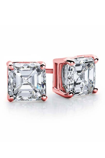 Image of Suzy Levian 14K Rose Gold Asscher-Cut White CZ Stud Earrings