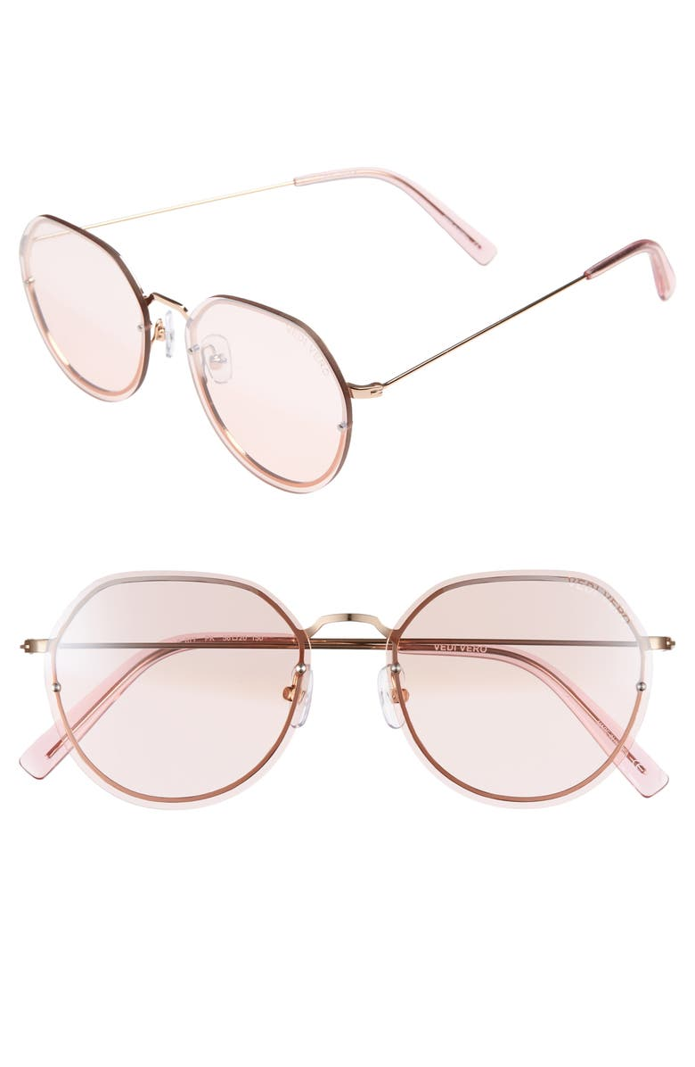 VEDI VERO 56mm Round Sunglasses, Main, color, PINK