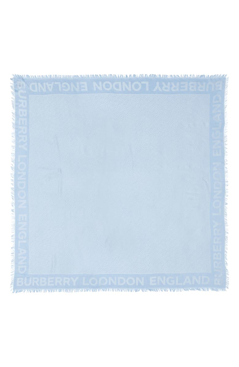 BURBERRY Monogram Jacquard Silk & Wool Square Scarf, Main, color, PALE BLUE