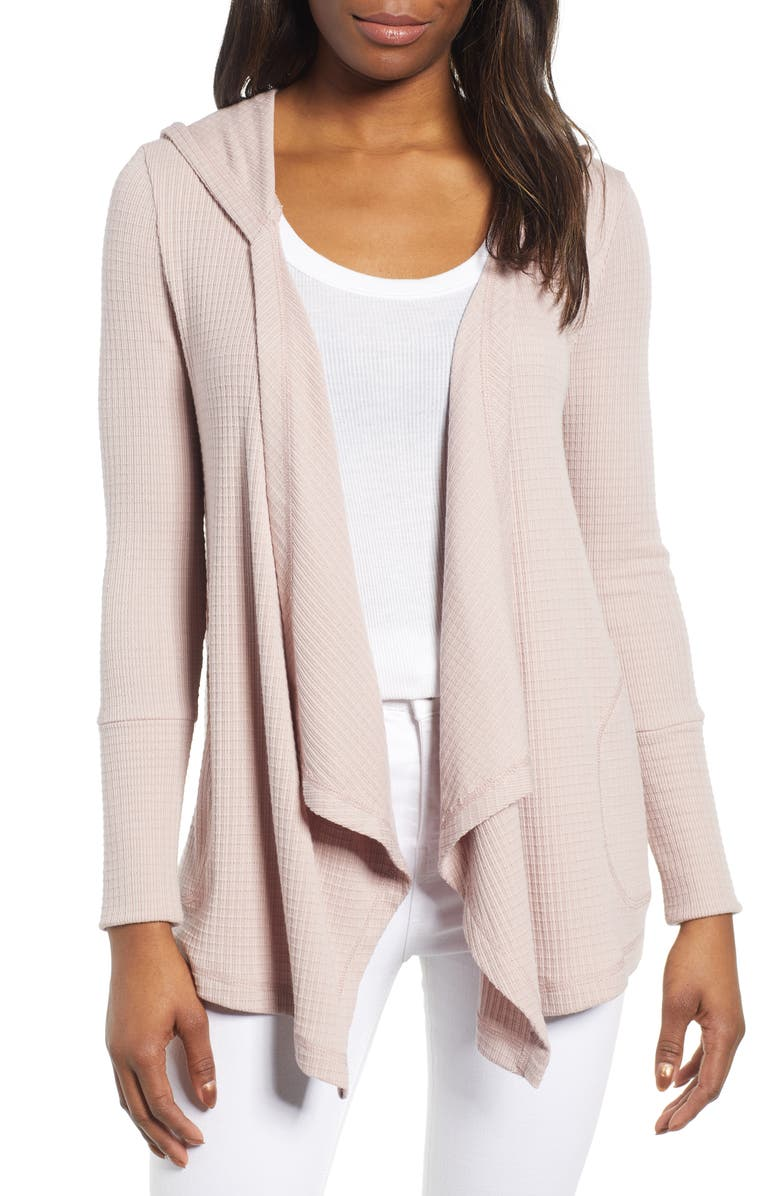 CASLON<SUP>®</SUP> Off Duty Waffle Cardigan, Main, color, PINK ADOBE
