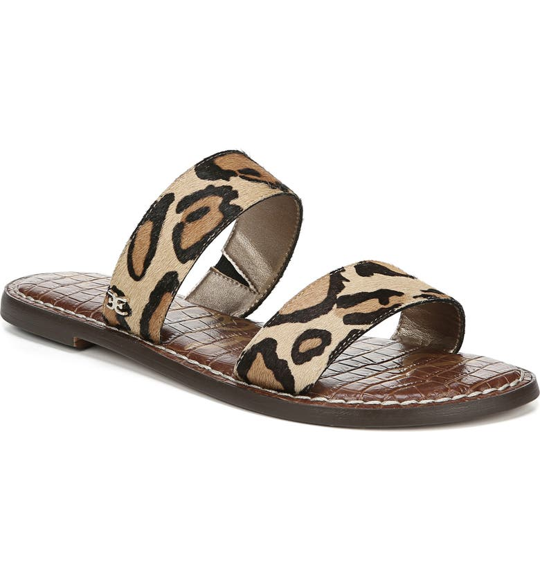 SAM EDELMAN Gala Two Strap Genuine Calf Hair Slide Sandal, Main, color, LEOPARD CALF HAIR