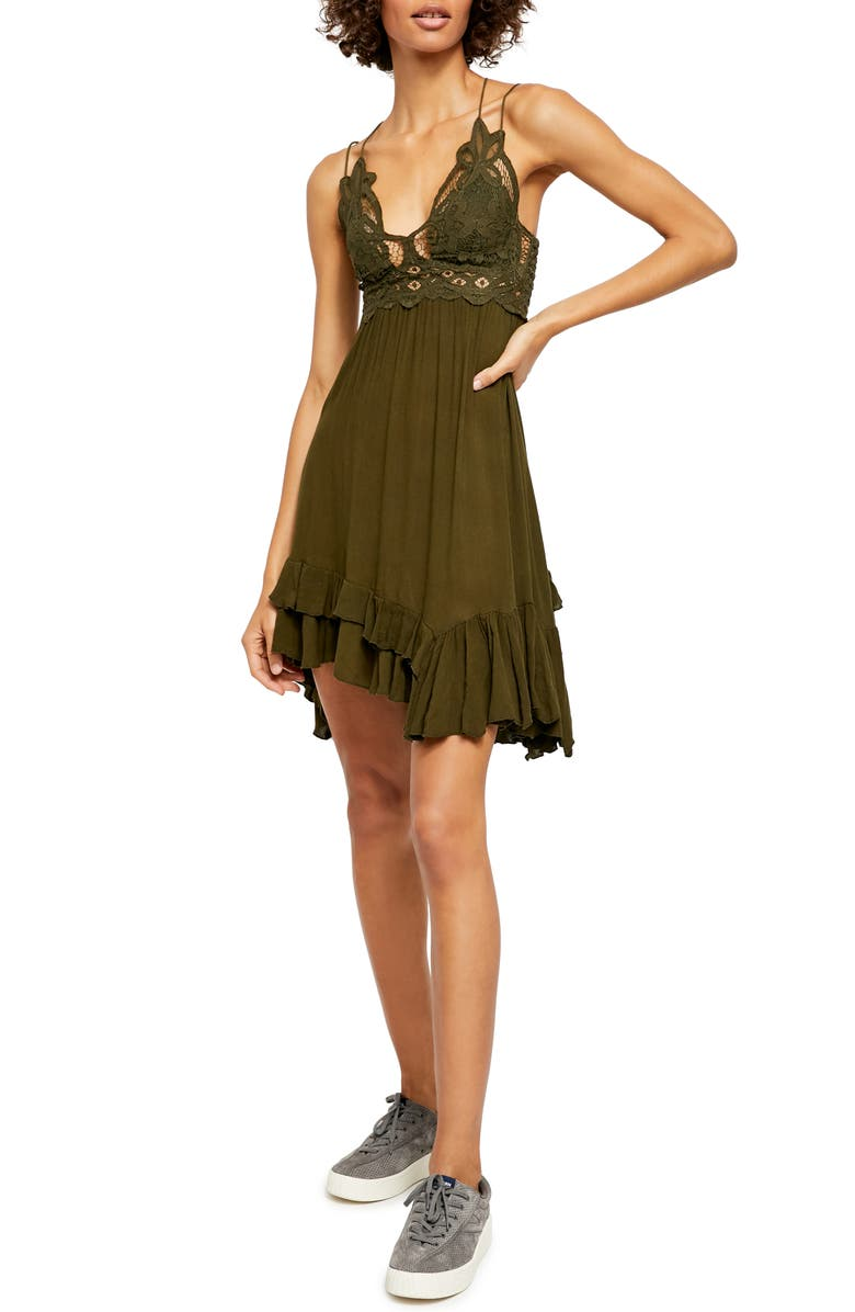FREE PEOPLE Intimately FP Adella Frilled Chemise, Main, color, ARMY