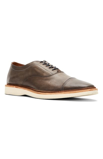 Frye Paul Bal Cap Toe Oxford In Charcoal Leather