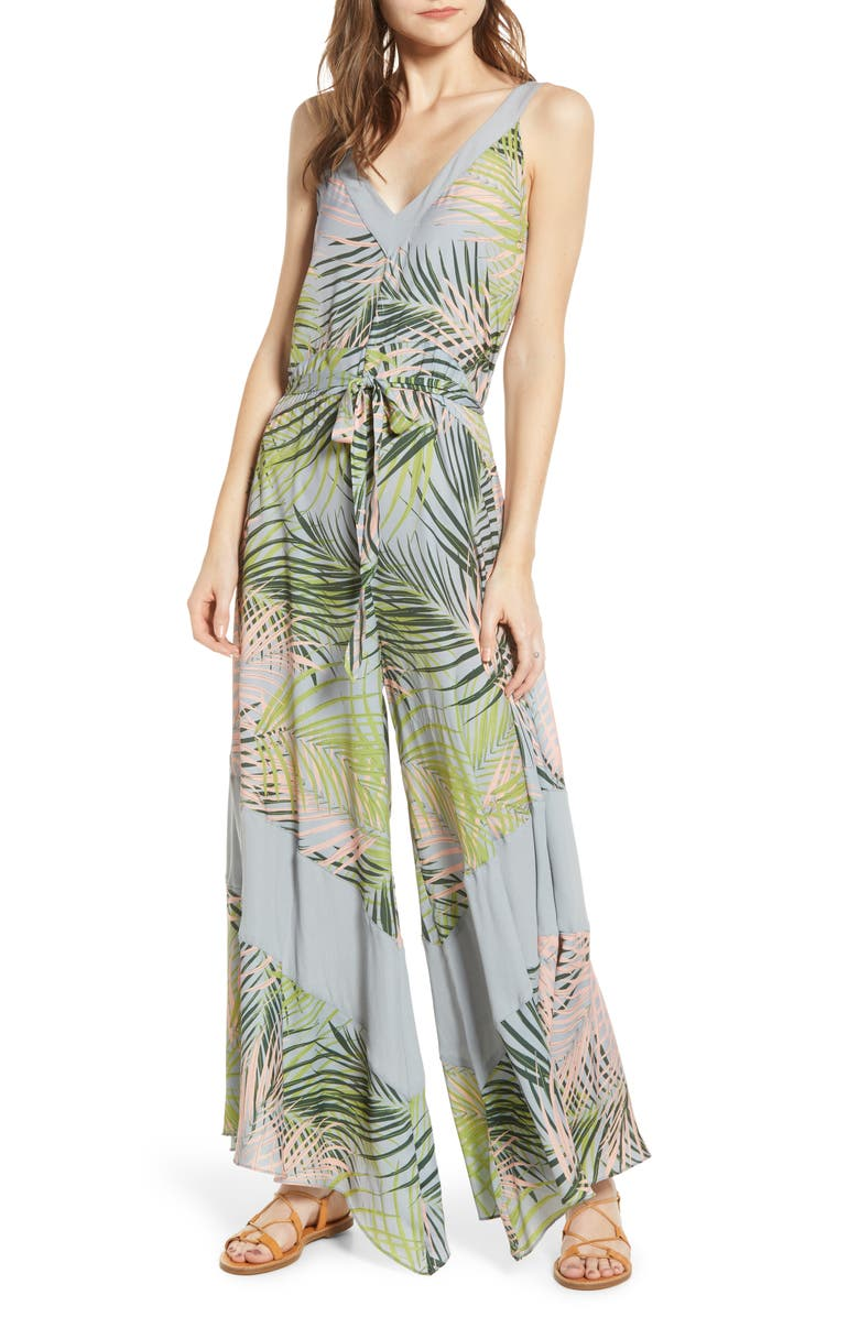 A LA PLAGE Tropical Print Wide Leg Jumpsuit, Main, color, TROPICAL BLUSH