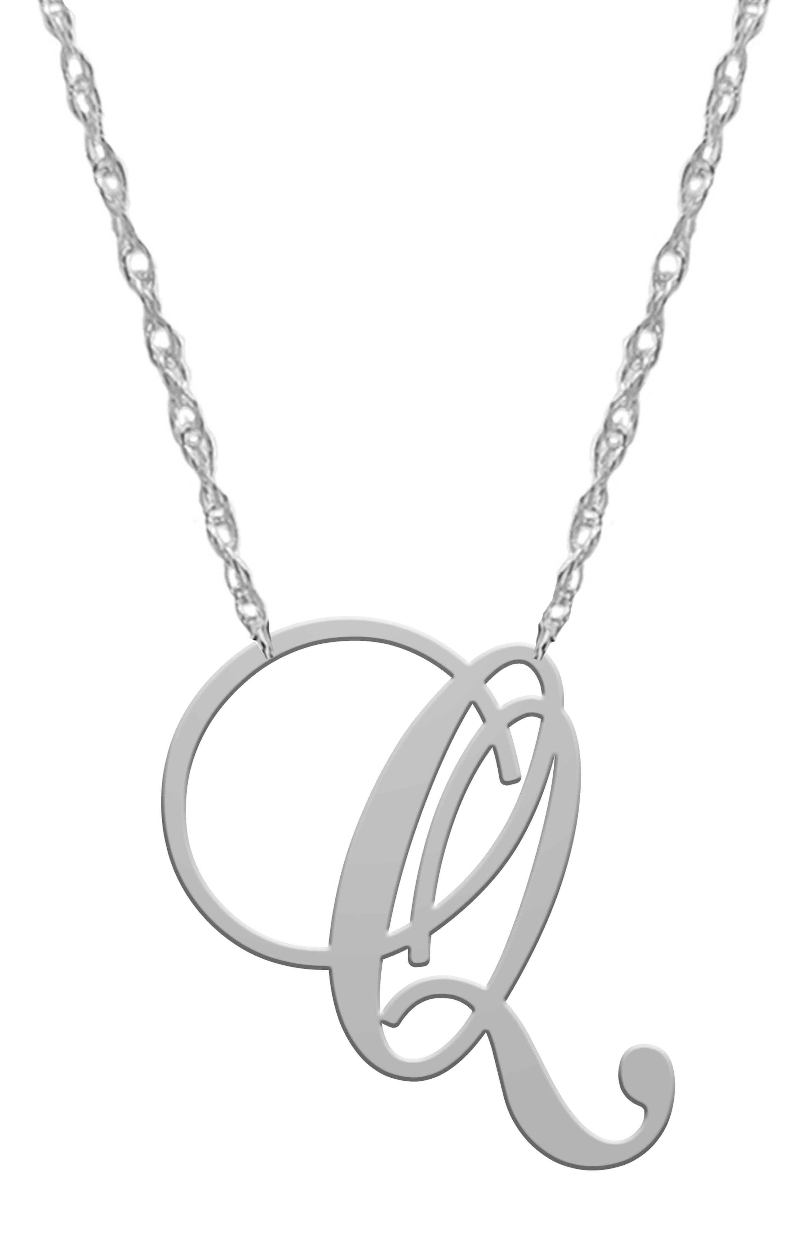 Opt for classy personalization with this polished sterling-silver necklace featuring an ornate cursive letter stationed on an adjustable rope chain. Style Name: Jane Basch Designs Swirly Initial Pendant Necklace. Style Number: 5863548. Available in stores.
