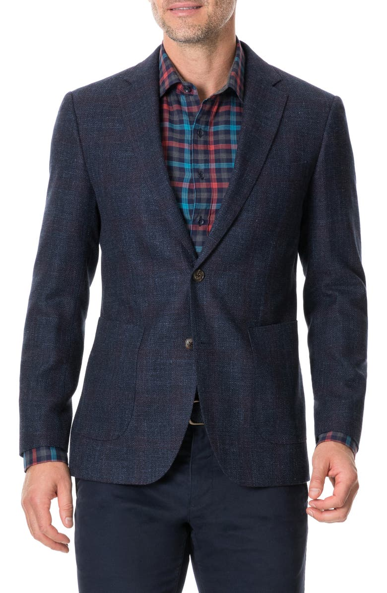 RODD & GUNN The Forks Regular Fit Check Wool & Cotton Sport Coat, Main, color, BLUE GRAPHITE