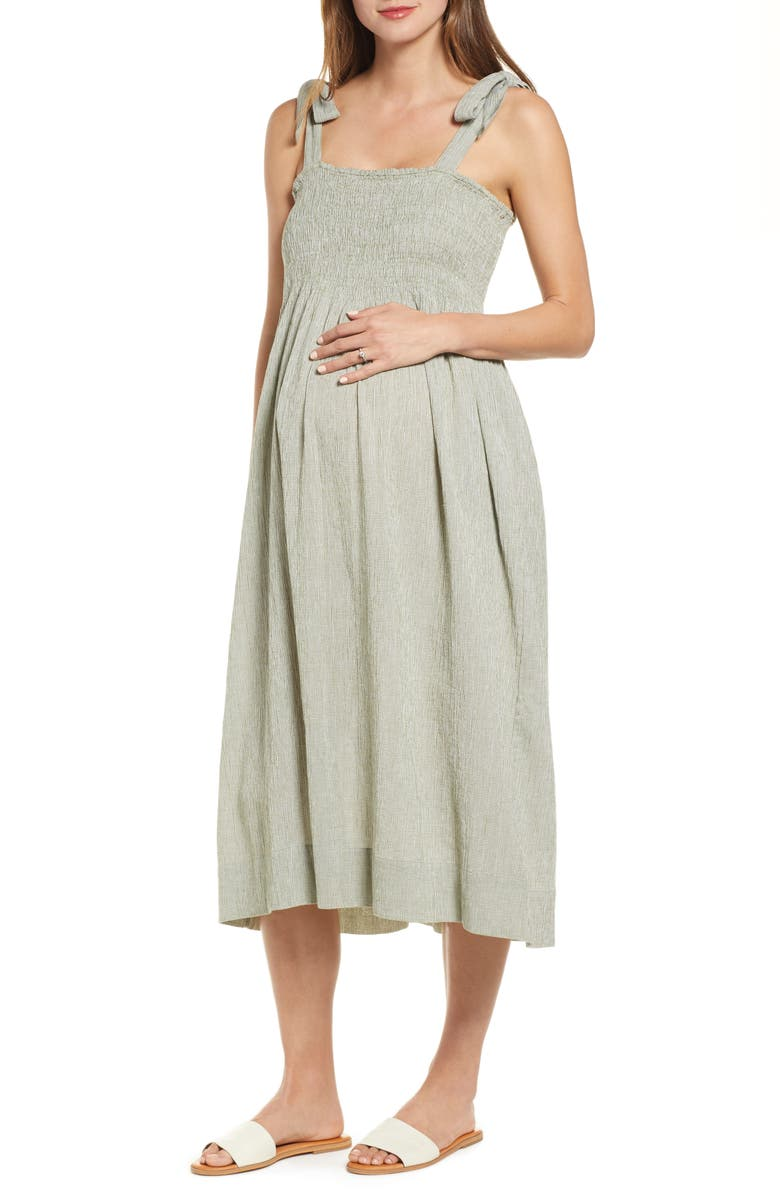 HATCH Margaux Dress, Main, color, SAGE GINGHAM