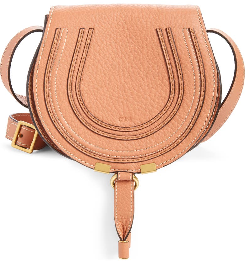 CHLOÉ 'Mini Marcie' Leather Crossbody Bag, Main, color, MUTED BROWN
