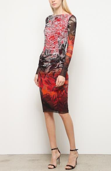 Dégradé Floral Long Sleeve Ruched Dress, video thumbnail