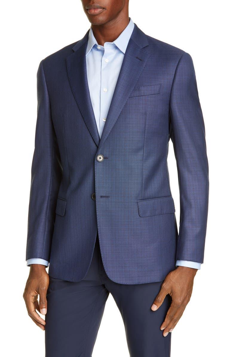 EMPORIO ARMANI Blue Screen Trim Fit Wool Sport Coat, Main, color, BLUE