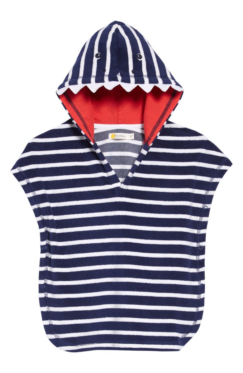 MINI BODEN Stripe Hooded Towelling Pullover, Main, color, DEEP SEA BLUE MONSTER