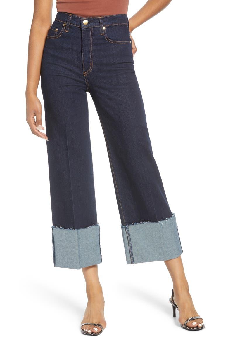NOBODY DENIM Milla Cuffed Hem Wide Leg Crop Jeans, Main, color, ASTRA