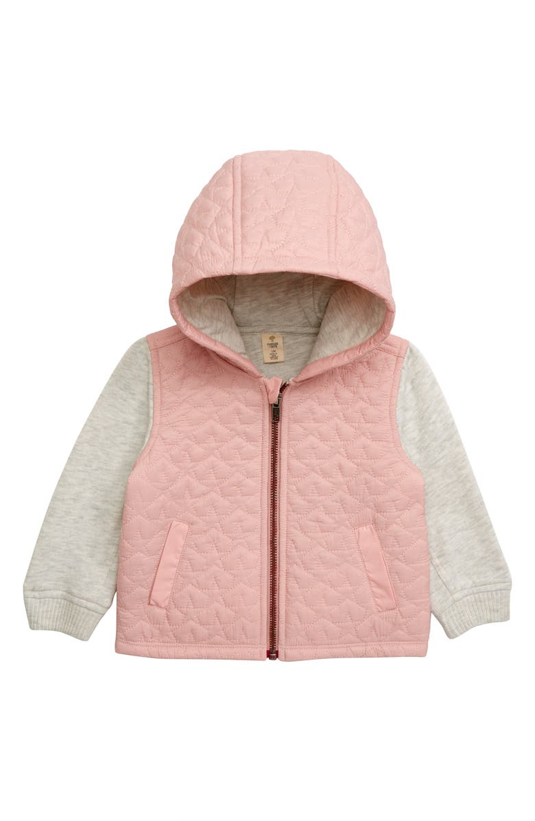 TUCKER + TATE Mixed Media Insulated Hooded Jacket, Main, color, PINK ENGLISH