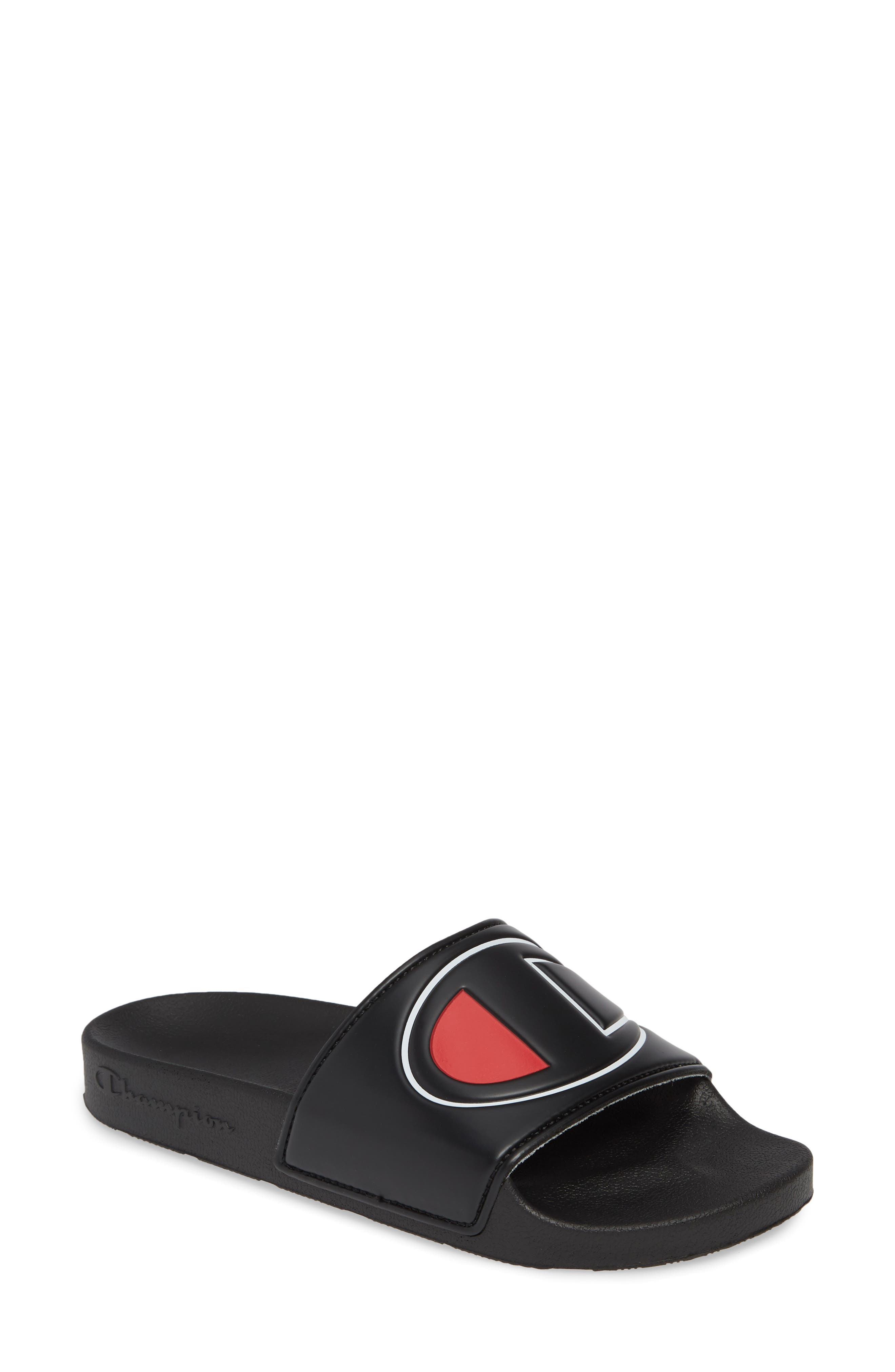 ,                             Slide Sandal,                             Main thumbnail 1, color,                             BLACK