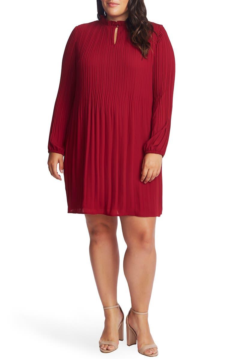 CECE Pleated Shift Dress, Main, color, ANTIQUE RUBY