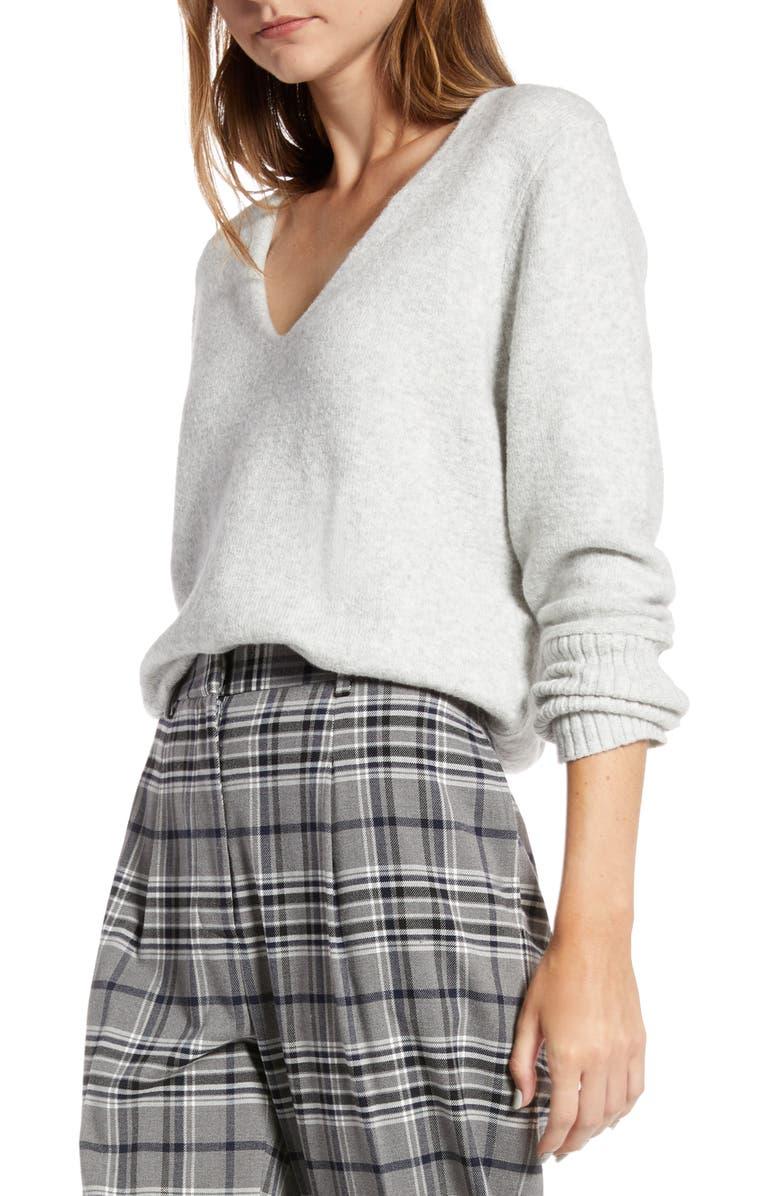 SOMETHING NAVY V-Neck Sweater, Main, color, GREY LIGHT HEATHER
