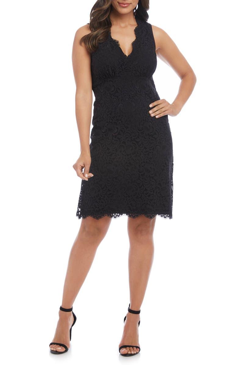 KAREN KANE Milan Lace Cocktail Dress, Main, color, BLACK W/ BLACK