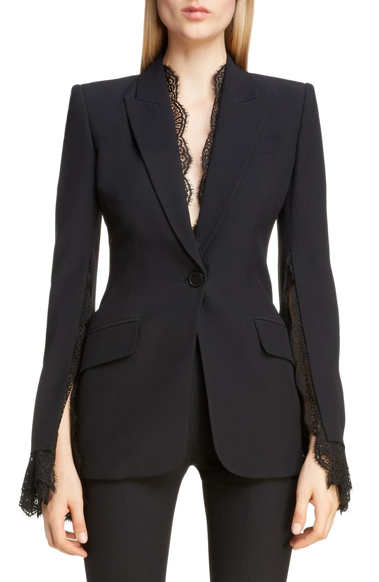 ALEXANDER MCQUEEN Lace Trim Blazer, Main, color, 001
