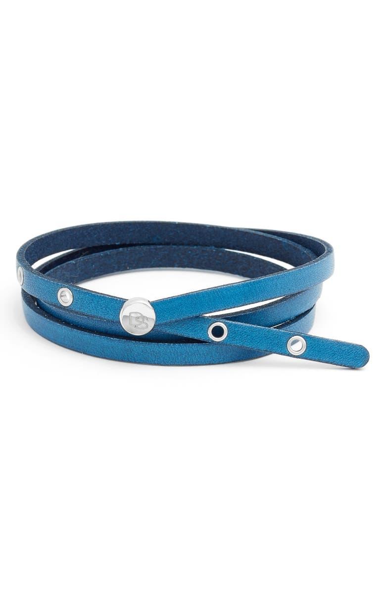 DEGS & SAL Leather Wrap Bracelet, Main, color, BLUE