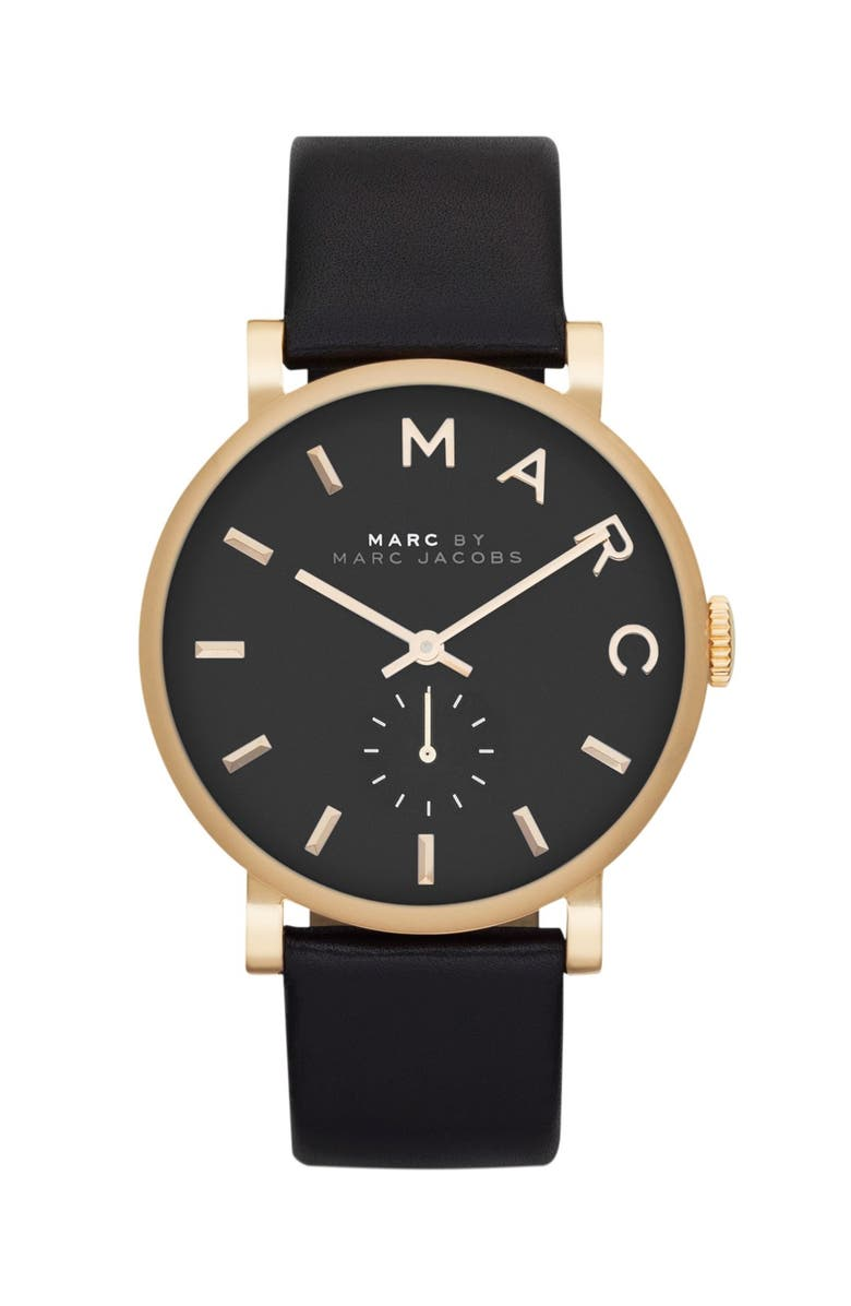 MARC JACOBS 'Baker' Leather Strap Watch, 37mm, Main, color, BLACK/ GOLD