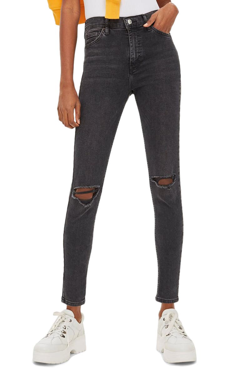 TOPSHOP Jamie Ripped High Waist Skinny Jeans, Main, color, WASHED BLACK