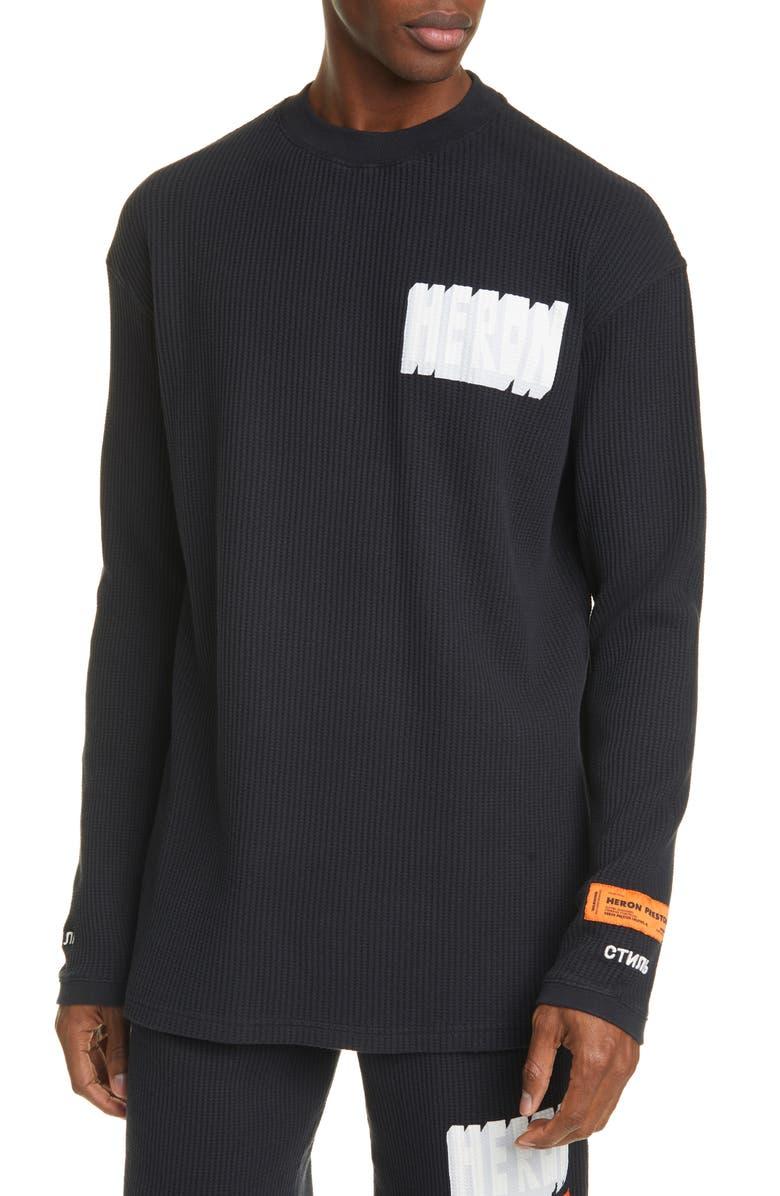 HERON PRESTON Bold Logo Organic Cotton Thermal T-Shirt, Main, color, 001