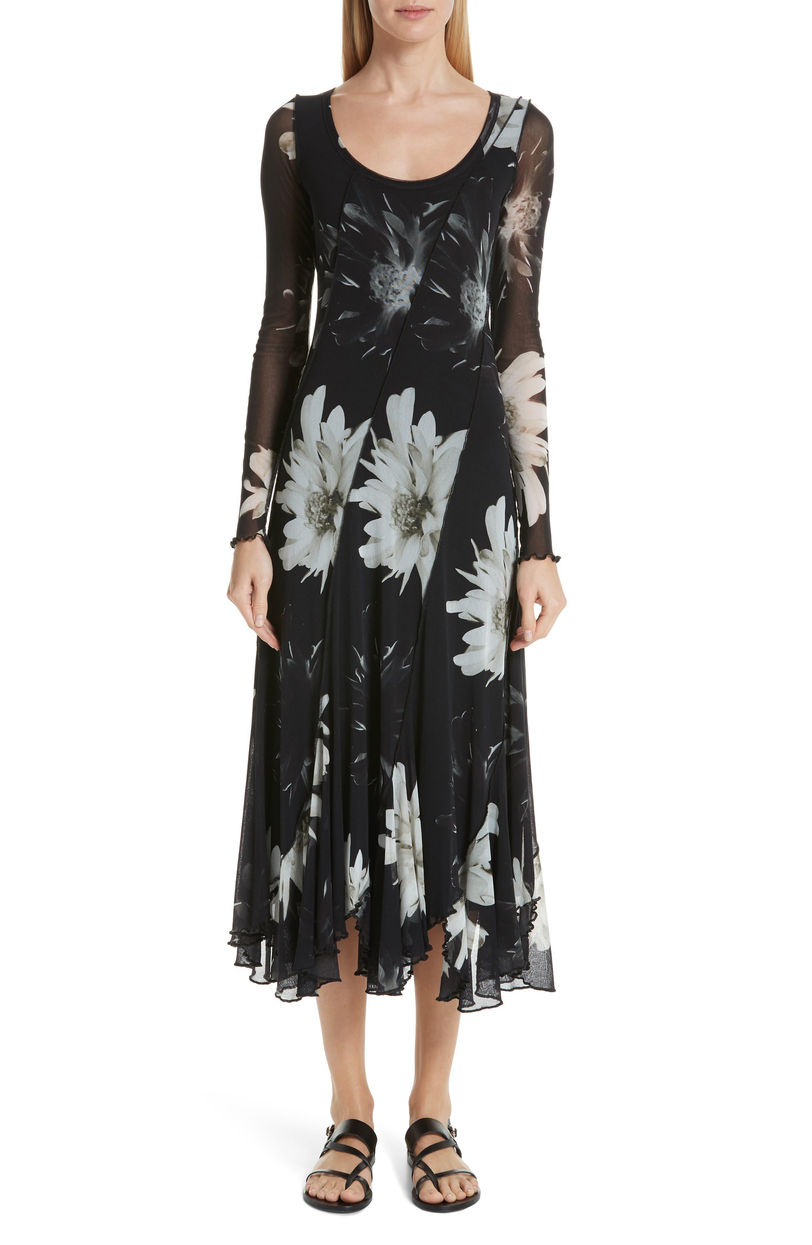 Fuzzi Floral Tulle Maxi Dress, Black