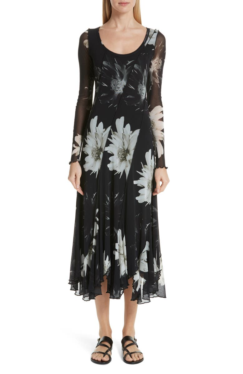 FUZZI Floral Tulle Maxi Dress, Main, color, 001