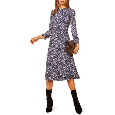 Reformation Moon Floral Long Sleeve Dress, Blue