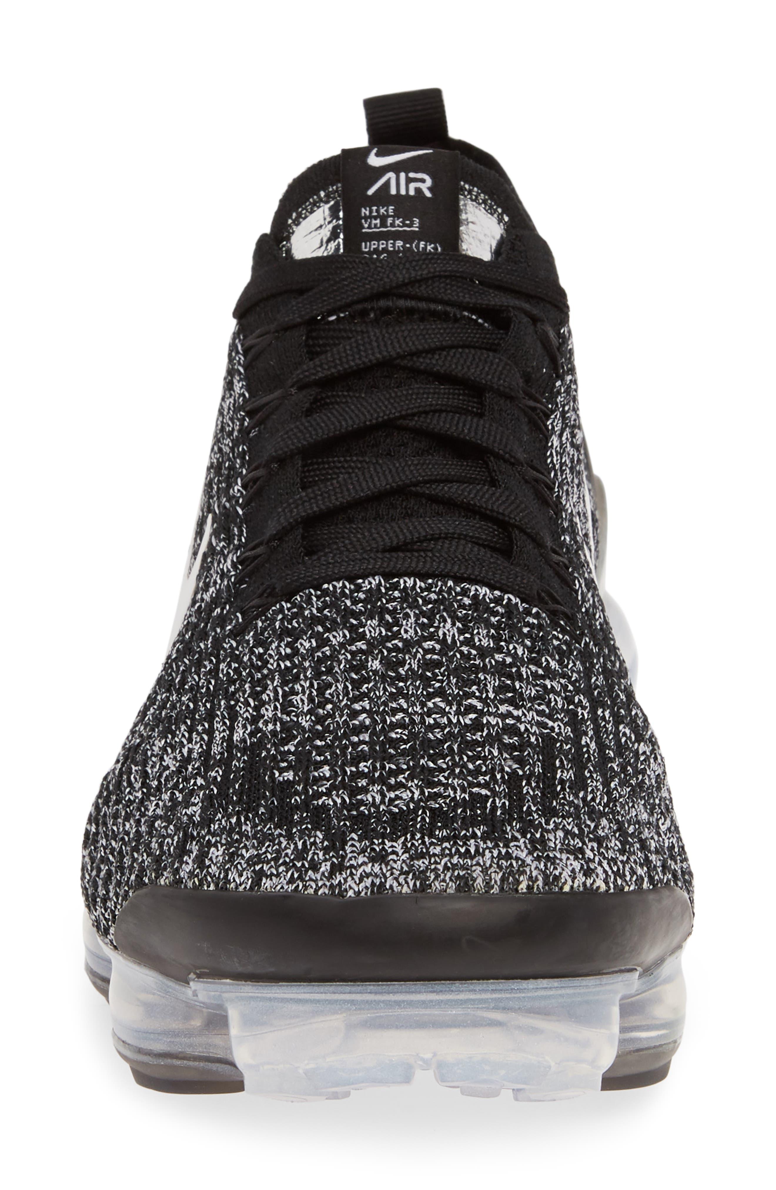 ,                             Air VaporMax Flyknit 3 Sneaker,                             Alternate thumbnail 4, color,                             BLACK/ WHITE/ METALLIC SILVER