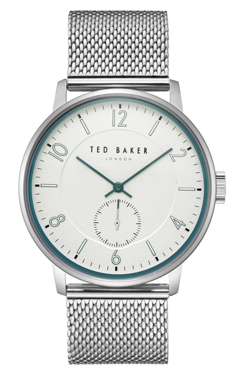 TED BAKER LONDON Owen Mesh Strap Watch, 42mm, Main, color, 044