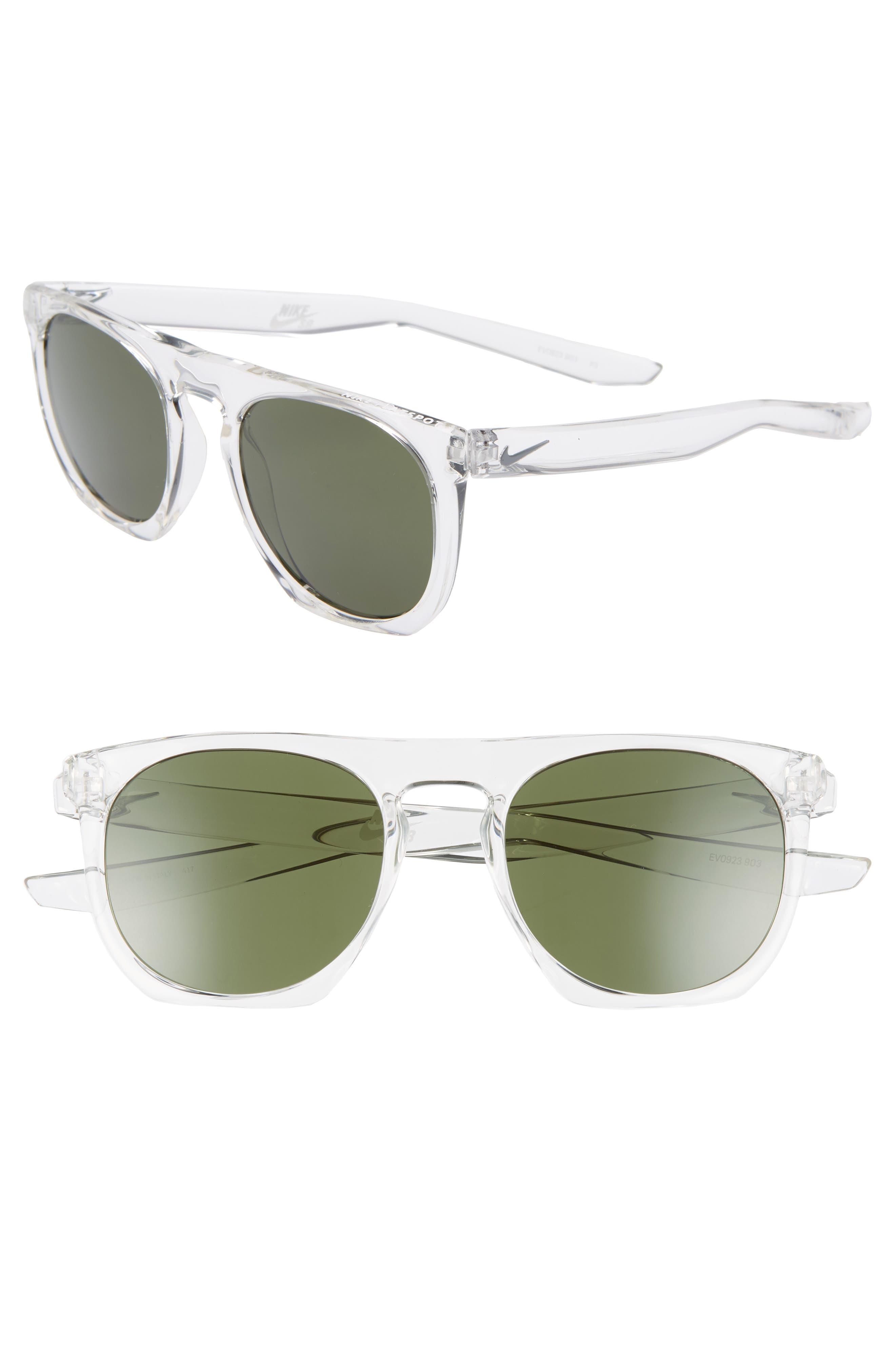 Nike Flatspot 52Mm Flat Top Sunglasses - Clear/ Green