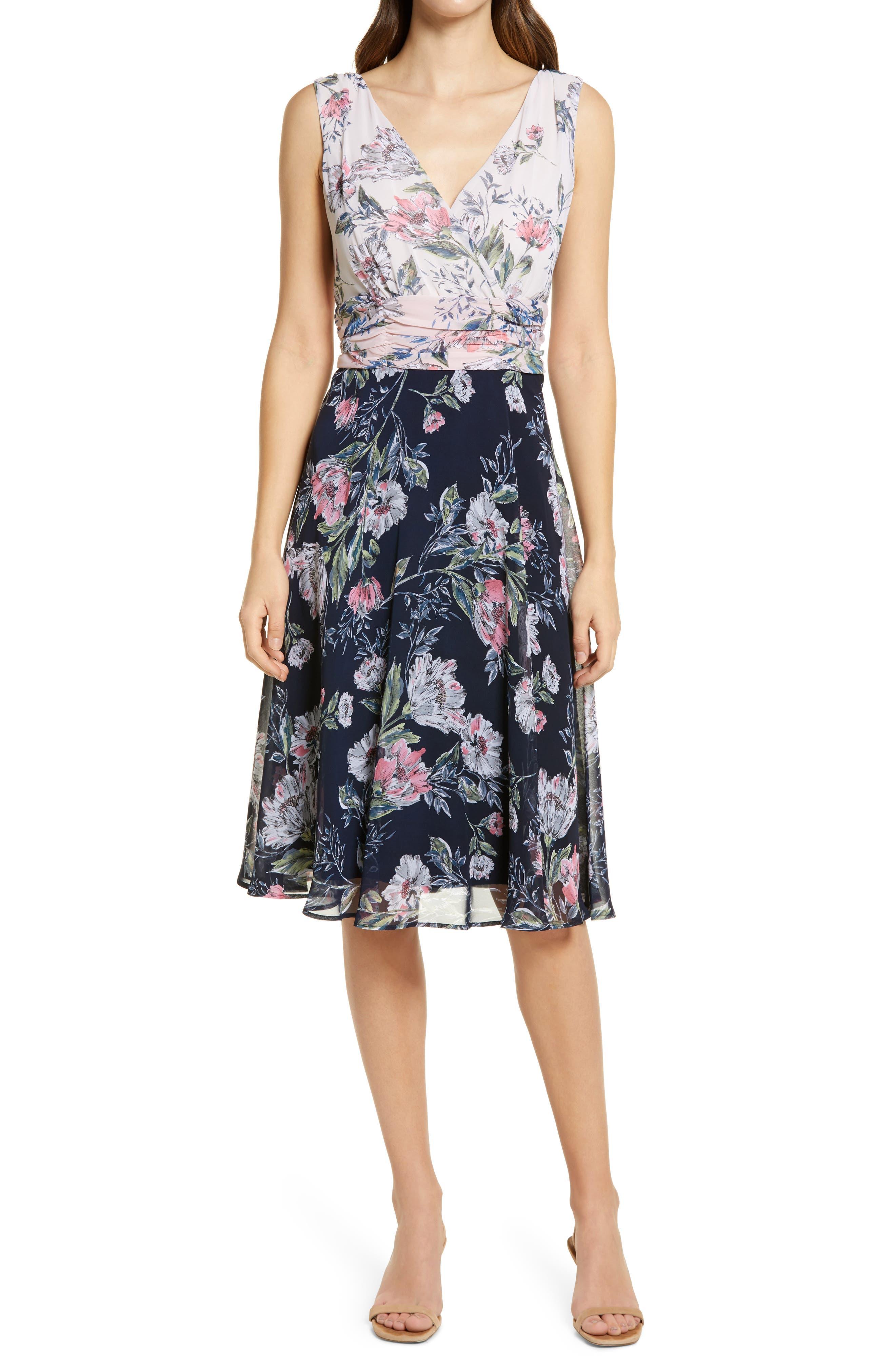 Contrast Floral Faux Wrap Dress