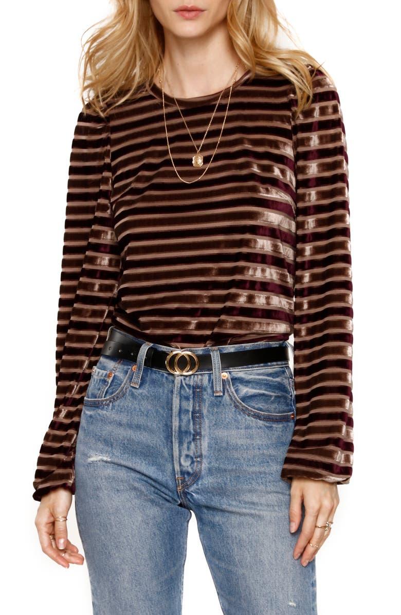 HEARTLOOM Allie Metallic Velvet Stripe Long Sleeve Top, Main, color, 930