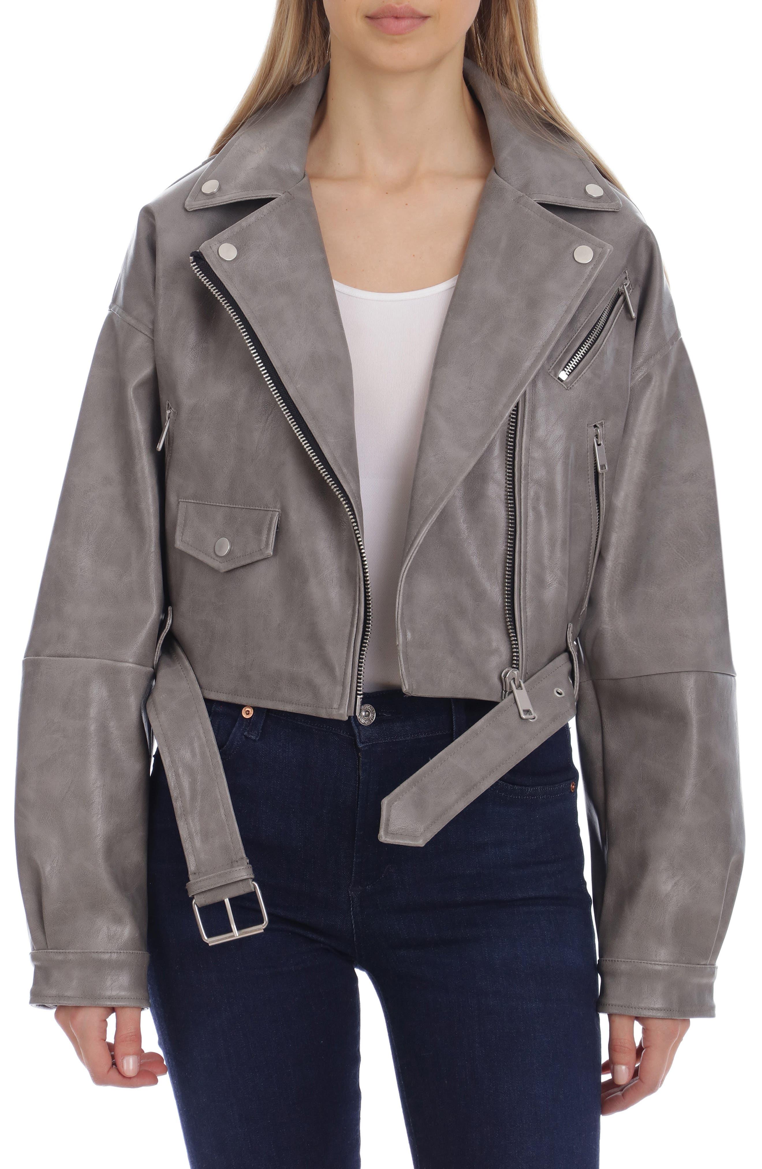 Oversize Crop Faux Leather Moto Jacket
