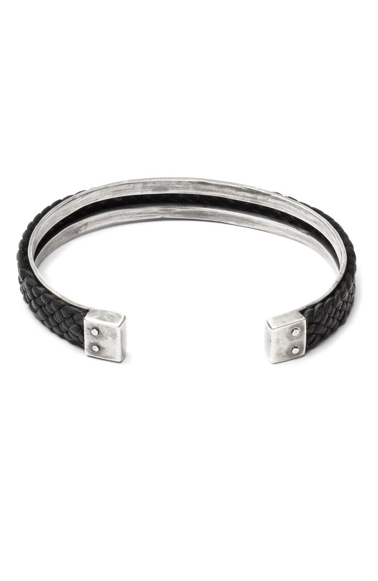 TITLE OF WORK Braided Leather Cuff Bracelet, Main, color, BLACK/SILVER
