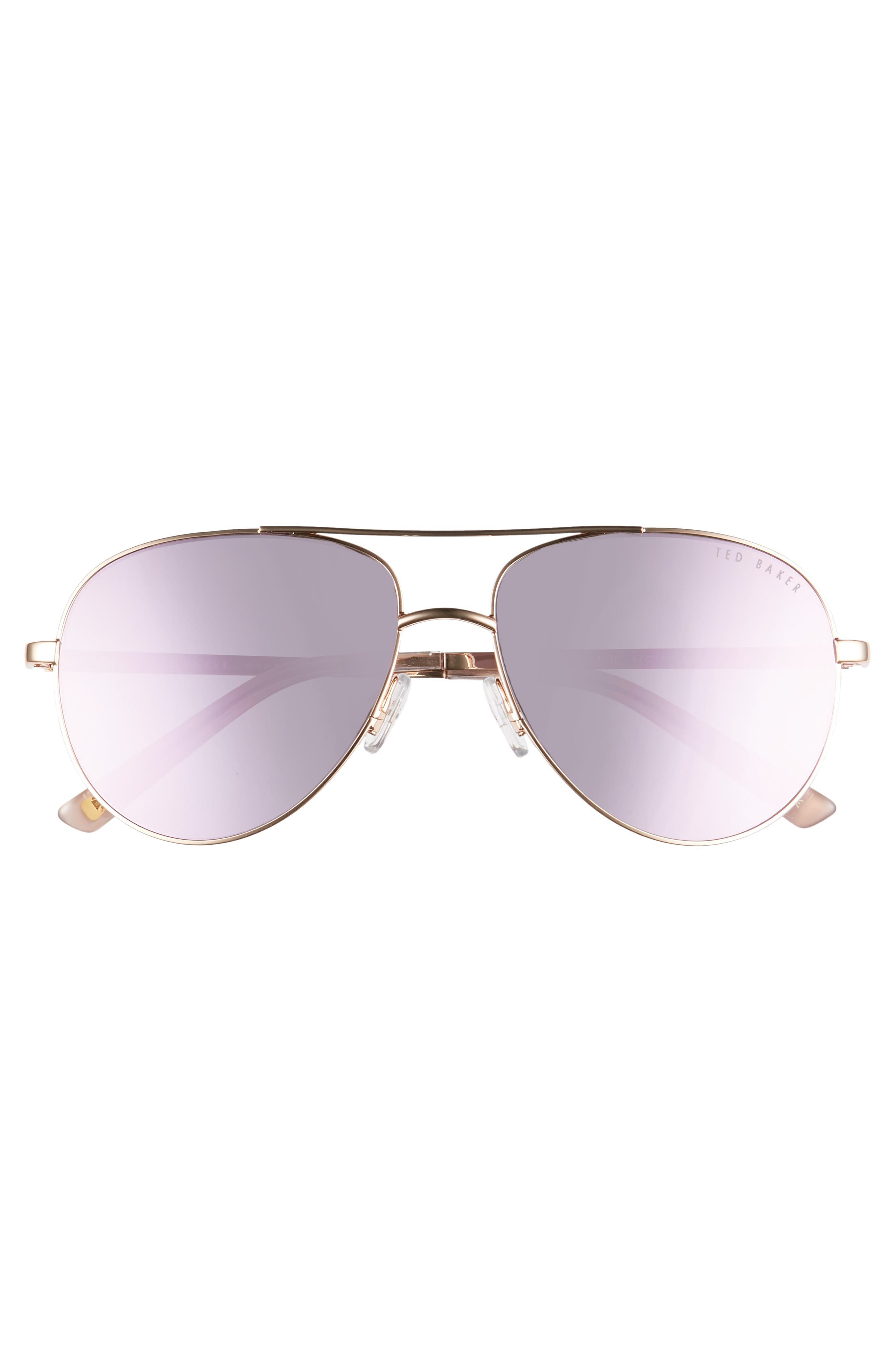 ,                             57mm Aviator Sunglasses,                             Alternate thumbnail 3, color,                             GOLD/ ROSE GOLD