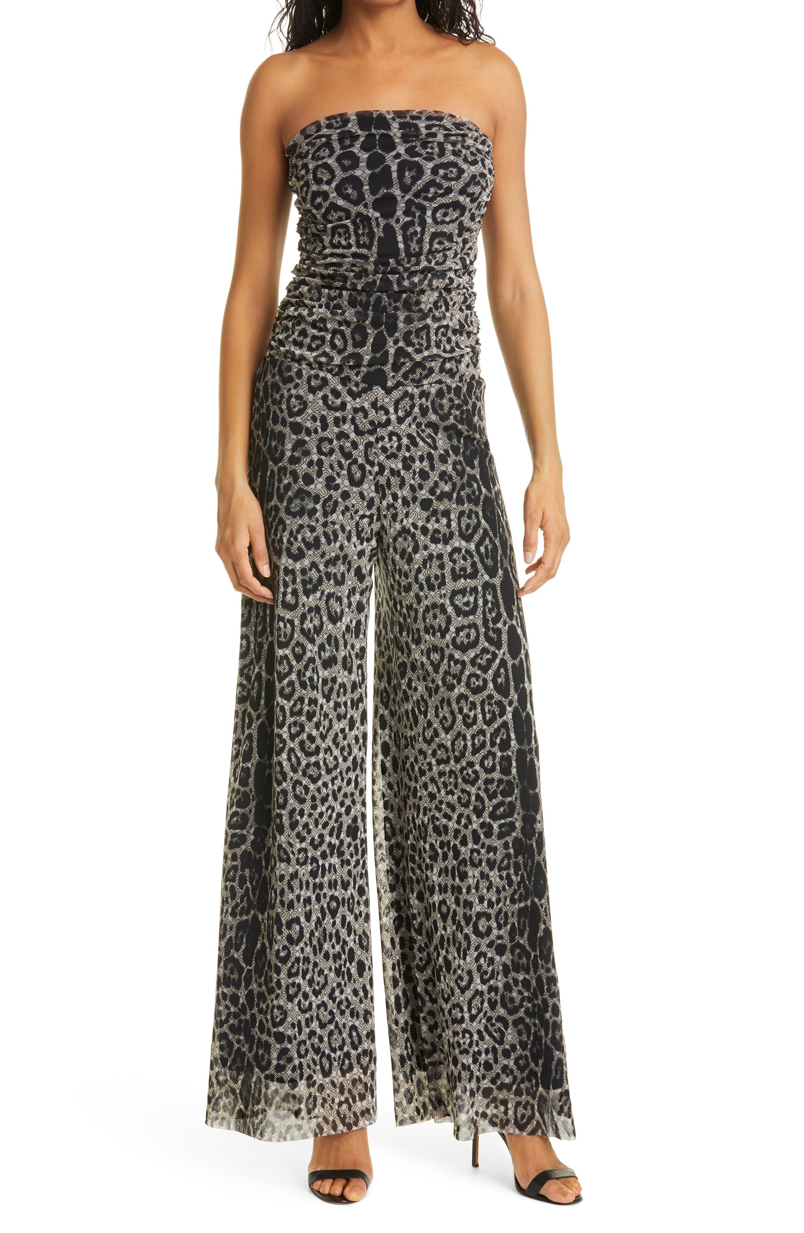 Tuta Leopard Print Strapless Jumpsuit
