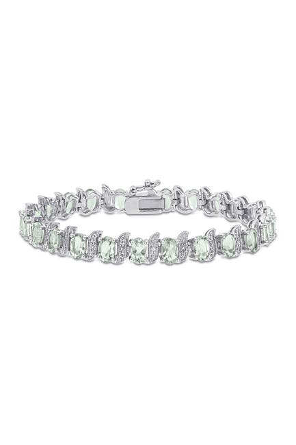 Image of Delmar Sterling Silver Green Amethyst & Diamond Link Bracelet