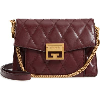 Givenchy Small Gv3 Diamond Quilted Leather Crossbody Bag - Burgundy