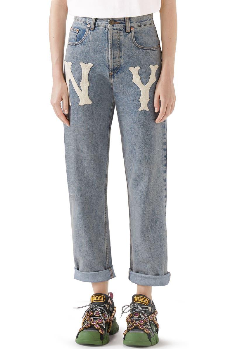 GUCCI NY Patch Boyfriend Jeans, Main, color, 493