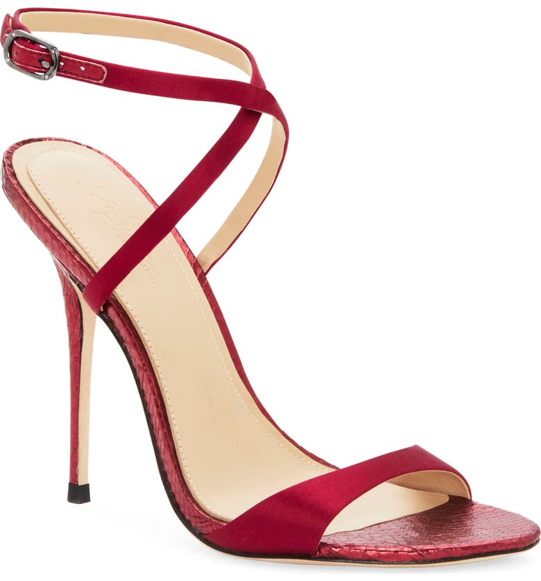 IMAGINE BY VINCE CAMUTO Imagine Vince Camuto Rora Ankle Strap Stiletto Sandal, Main, color, BORDEAUX SATIN