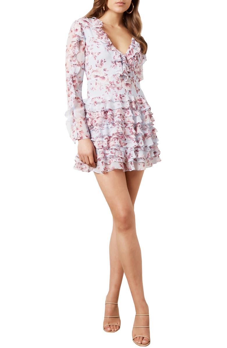 BARDOT Lianna Floral Print Long Sleeve Minidress, Main, color, SKY BLUE FLORAL